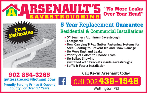 Arsenault's Eavestroughing (902-854-3265) - Display Ad -