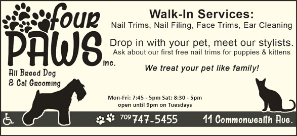 Four Paws Dog and Cat Grooming Inc (709-747-5455) - Display Ad -