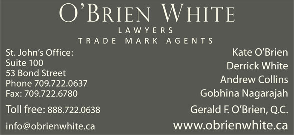 O'Brien White (709-722-0637) - Display Ad -