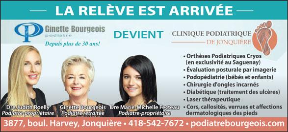 Clinique Podiatrique De Jonquière (418-542-7672) - Annonce illustrée======= -