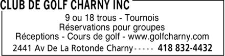 Club De Golf Charny Inc (418-832-4432) - Display Ad