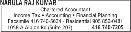 Narula Raj Kumar (416-740-7205) - Display Ad - Chartered Accountant Income Tax • Accounting • Financial Planning Facsimile 416 740-5634 - Residential 905 856-0481