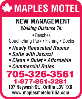 Maples Motel (705-326-3561) - Display Ad