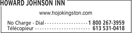 Howard Johnson Inn (1-800-267-3959) - Annonce illustrée - www.hojokingston.com  www.hojokingston.com