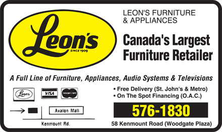 Leon's Furniture (709-576-1830) - Display Ad