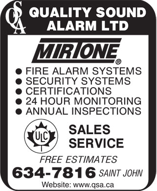 Quality Sound Alarm Ltd (506-634-7816) - Annonce illustrée - Website: www.qsa.ca