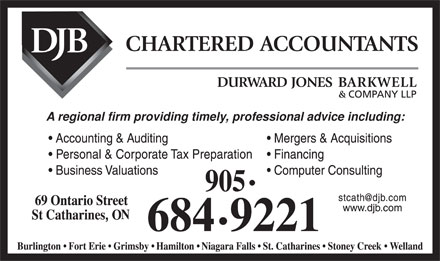 Durward Jones Barkwell & Company LLP (905-684-9221) - Annonce illustrée - A regional firm providing timely, professional advice including: , A regional firm providing timely, professional advice including: ,