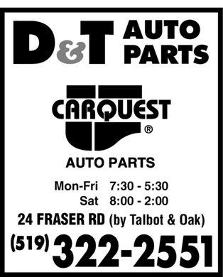 D &amp; T Auto Parts Ltd (519-322-2551) - Annonce illustr&eacute;e - D&amp;T AUTO PARTS carquest AUTO PARTS Mon-Fri 7:30-5:30 Sat 8:00-2:00 24 FRASER RD (by Talbot &amp; Oak) (519) 322-2551