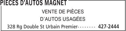 Magnet Pièces D'Autos (450-427-2444) - Display Ad - VENTE DE PIÈCES D'AUTOS USAGÉES