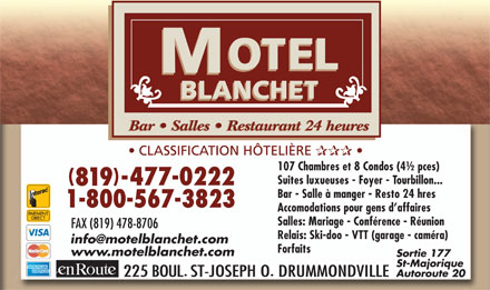 Motel Blanchet (819-477-0222) - Display Ad