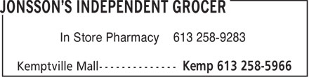 Jonsson's Independent Grocer (613-258-5966) - Display Ad - In Store Pharmacy 613 258-9283