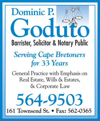 Goduto Dominic P Barr (902-564-9503) - Annonce illustr&eacute;e