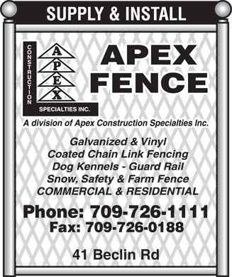 Apex Construction Specialties Inc (709-726-1111) - Display Ad - 41 Beclin Rd  41 Beclin Rd