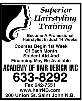 Academy Of Hair Design Inc (506-633-8292) - Display Ad