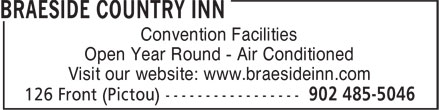 Braeside Country Inn (902-485-5046) - Display Ad - Convention Facilities Open Year Round - Air Conditioned Visit our website: www.braesideinn.com