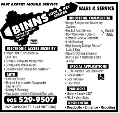 Binns Lock Amp Key Centre 269 Cannon St E Hamilton On