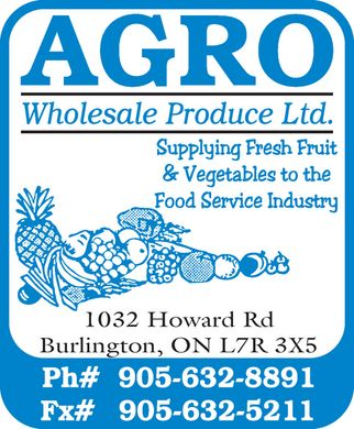 Agro Wholesale Produce Ltd (905-632-8891) - Annonce illustrée