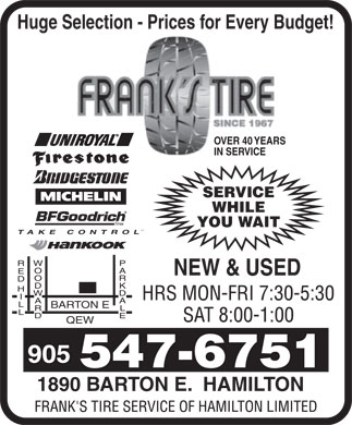 Frank's Tire Service Of Hamilton Limited (905-547-6751) - Display Ad