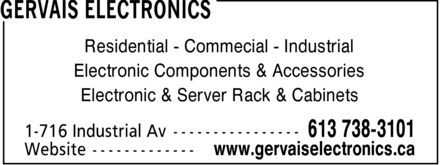 Gervais Electronics (613-738-3101) - Display Ad - Residential Commecial Industrial Electronic Components & Accessories Electronic & Server Rack & Cabinets