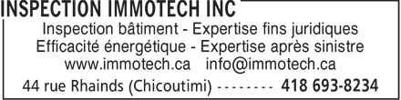 Inspection Immotech Inc (418-693-8234) - Display Ad
