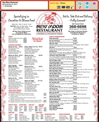 New Moon Restaurant The (1-866-238-8008) - Menu