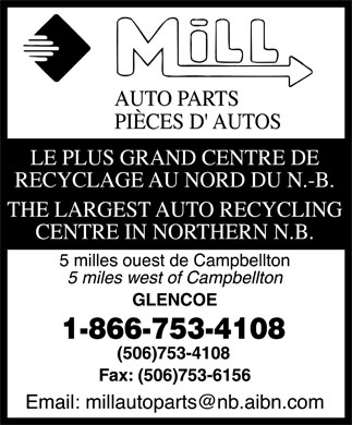 Mill Auto Parts Recycling (1-866-753-4108) - Annonce illustrée