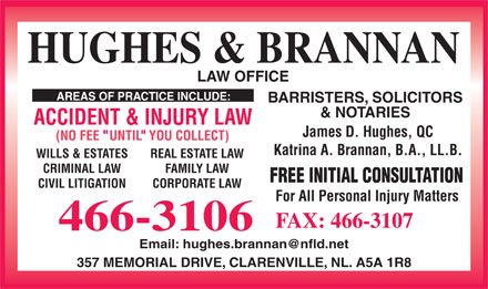 Hughes & Brannan (709-466-3106) - Display Ad