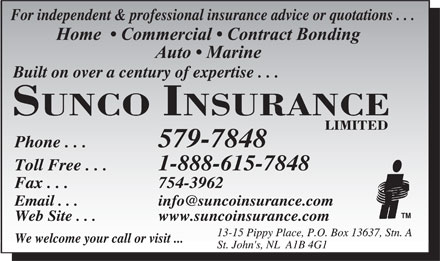 Sunco Insurance Ltd (709-579-7848) - Display Ad