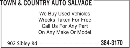 Town & Country Auto Salvage (902-384-3170) - Display Ad - We Buy Used Vehicles Wrecks Taken For Free Call Us For Any Part On Any Make Or Model  We Buy Used Vehicles Wrecks Taken For Free Call Us For Any Part On Any Make Or Model  We Buy Used Vehicles Wrecks Taken For Free Call Us For Any Part On Any Make Or Model  We Buy Used Vehicles Wrecks Taken For Free Call Us For Any Part On Any Make Or Model  We Buy Used Vehicles Wrecks Taken For Free Call Us For Any Part On Any Make Or Model  We Buy Used Vehicles Wrecks Taken For Free Call Us For Any Part On Any Make Or Model  We Buy Used Vehicles Wrecks Taken For Free Call Us For Any Part On Any Make Or Model  We Buy Used Vehicles Wrecks Taken For Free Call Us For Any Part On Any Make Or Model  We Buy Used Vehicles Wrecks Taken For Free Call Us For Any Part On Any Make Or Model  We Buy Used Vehicles Wrecks Taken For Free Call Us For Any Part On Any Make Or Model  We Buy Used Vehicles Wrecks Taken For Free Call Us For Any Part On Any Make Or Model  We Buy Used Vehicles Wrecks Taken For Free Call Us For Any Part On Any Make Or Model