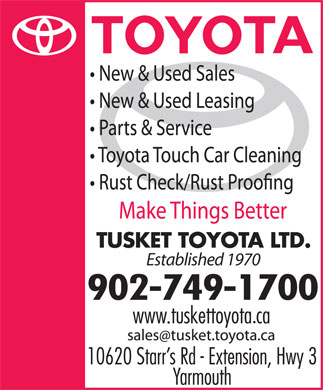 Tusket Toyota (902-749-1700) - Annonce illustrée - Established 1970 902-749-1700