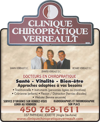 Clinique Chiropratique Verreault (450-759-1611) - Annonce illustr&eacute;e