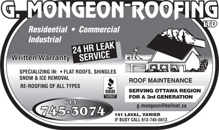 Mongeon G Roofing Ltd (613-745-3074) - Annonce illustr&eacute;e