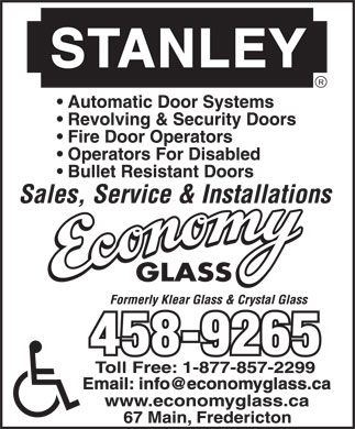 Economy Glass (506-458-9265) - Display Ad - Email: info@economyglass.ca
