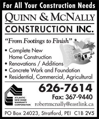 Quinn &amp; McNally Construction Inc (902-626-7614) - Annonce illustr&eacute;e