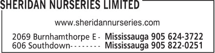 Sheridan Nurseries Limited (905-624-3722) - Annonce illustrée - www.sheridannurseries.com