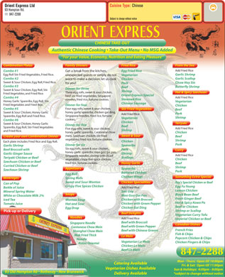 Orient Express Ltd (506-847-2288) - Menu