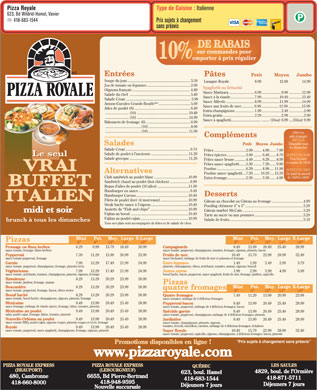 Pizza Royale (418-683-1544) - Menu