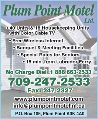 Plum Point Motel Ltd (709-247-2533) - Display Ad