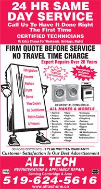 All Tech Refrigeration Amp Appliance Repair Cambridge On