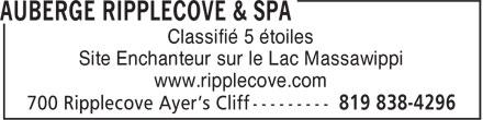 Ripplecove Hôtel sur le lac (819-838-4296) - Annonce illustrée======= - Classifié 5 étoiles - Site Enchanteur sur le Lac Massawippi - www.ripplecove.com