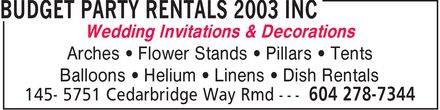 Budget Party Rentals 2003 Inc (604-278-7344) - Annonce illustrée - Wedding Invitations & Decorations Arches Flower Stands  Pillars Tents Balloons Helium  Linens Dish Rentals Wedding Invitations & Decorations Arches Flower Stands  Pillars Tents Balloons Helium  Linens Dish Rentals