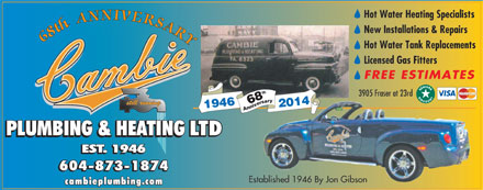 Cambie Plumbing & Heating Ltd (604-873-1874) - Annonce illustrée - 68th ANNIVERSAR 201468
