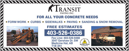 Transit Paving Inc (403-526-0386) - Display Ad