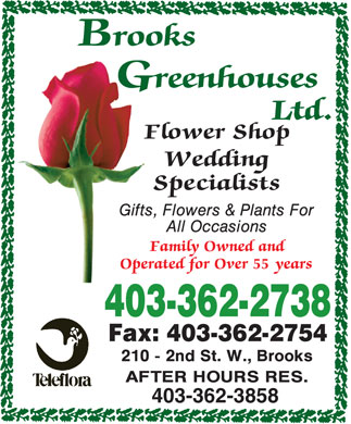 Brooks Greenhouses Flower Shop (403-362-2738) - Annonce illustrée