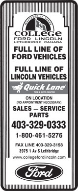 College Ford Lincoln (403-332-6169) - Annonce illustrée - VEHICLES LINCOLN VEHICLES ON LOCATION (NO APPOINTMENT NECESSARY) 403-329-0333 FAX LINE 403-329-3158