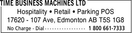 Time Business Machines Ltd (1-800-661-7333) - Annonce illustrée - Hospitality   Retail   Parking POS 17620 - 107 Ave, Edmonton AB T5S 1G8