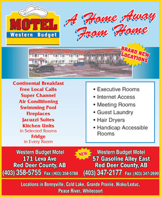Western Budget Motel 1 (403-406-0800) - Annonce illustrée - BRAND NEW LOCATIONS 57 Gasoline Alley East171 Leva Ave Red Deer County, ABRed Deer County, AB