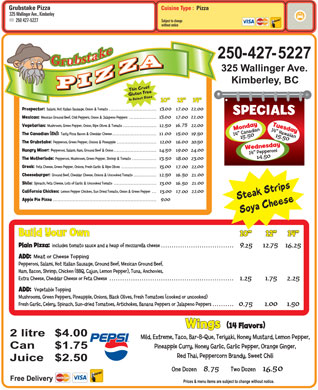 Grubstake Pizza (250-427-5227) - Menu