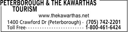 Peterborough & The Kawarthas Tourism (705-742-2201) - Annonce illustrée - www.thekawarthas.net 1400 Crawford Dr (Peterborough) (705) 742-2201
