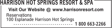 Harrison Hot Springs Resort & Spa (604-796-2244) - Annonce illustrée - Reservations